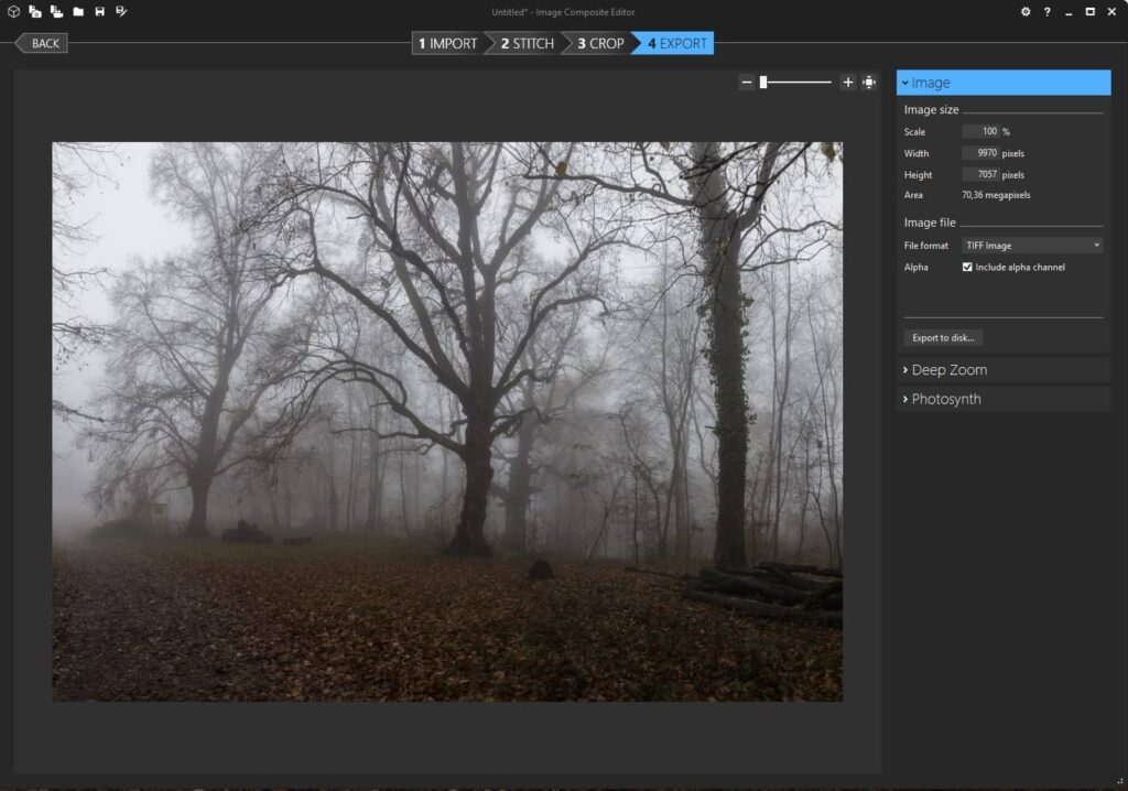 Panorama Stiching Software Image Composite Editor (ICE) Export Fenster
