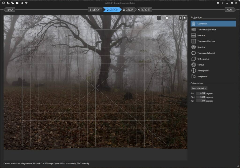 Panorama Stiching Software Image Composite Editor (ICE) Stitch Fenster